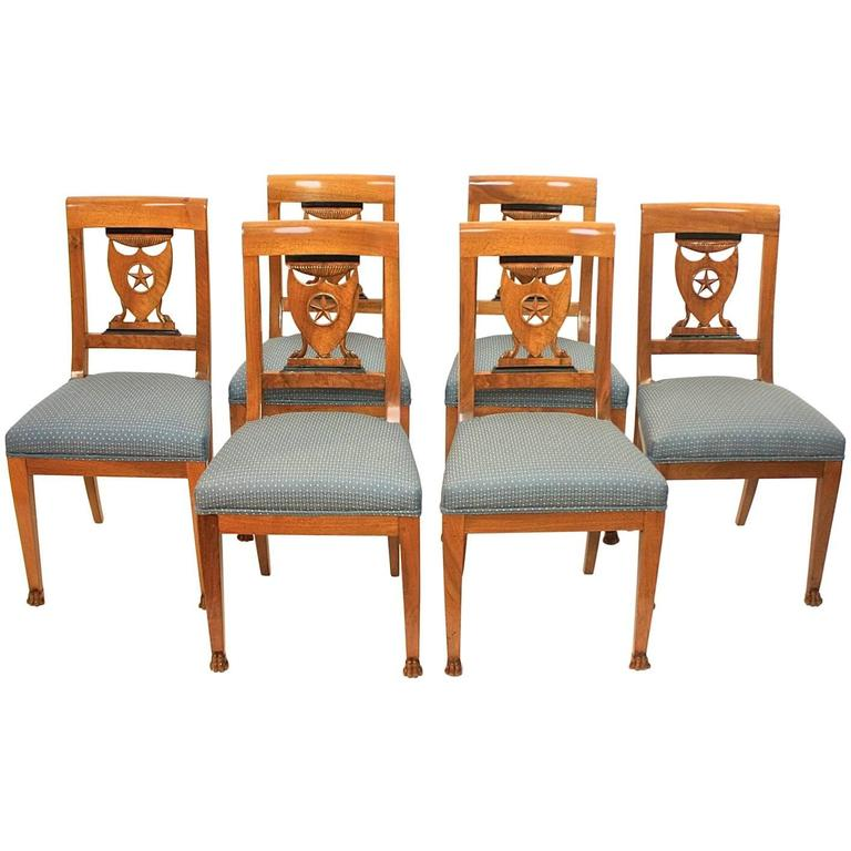 Set of Six Late 18th Century Directoire Side Chairs, workshop of P.M. Balny
