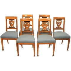 Set of Six Late 18th Century Directoire Dining Chairs, workshop of P.M. Balny