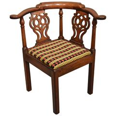 Handsome Early George III Cuban Mahogany Corner Chair, 1760