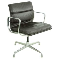 Charles Eames for Herman Miller Dark Brown Leather Soft-Pad Aluminium Group Chai