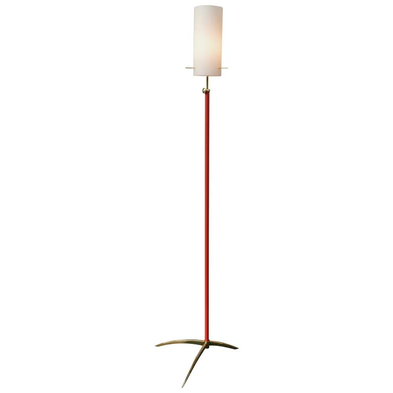 Stunning Italian Brass and Opaline Glass Floor Lamp, 1950s