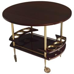 Mid-Century Trolley Bar Cart Full Mahogany Brass Round with Drop-Leaves