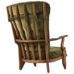 Guillerme & Chambron High Back Chair in Green Velvet Upholstery