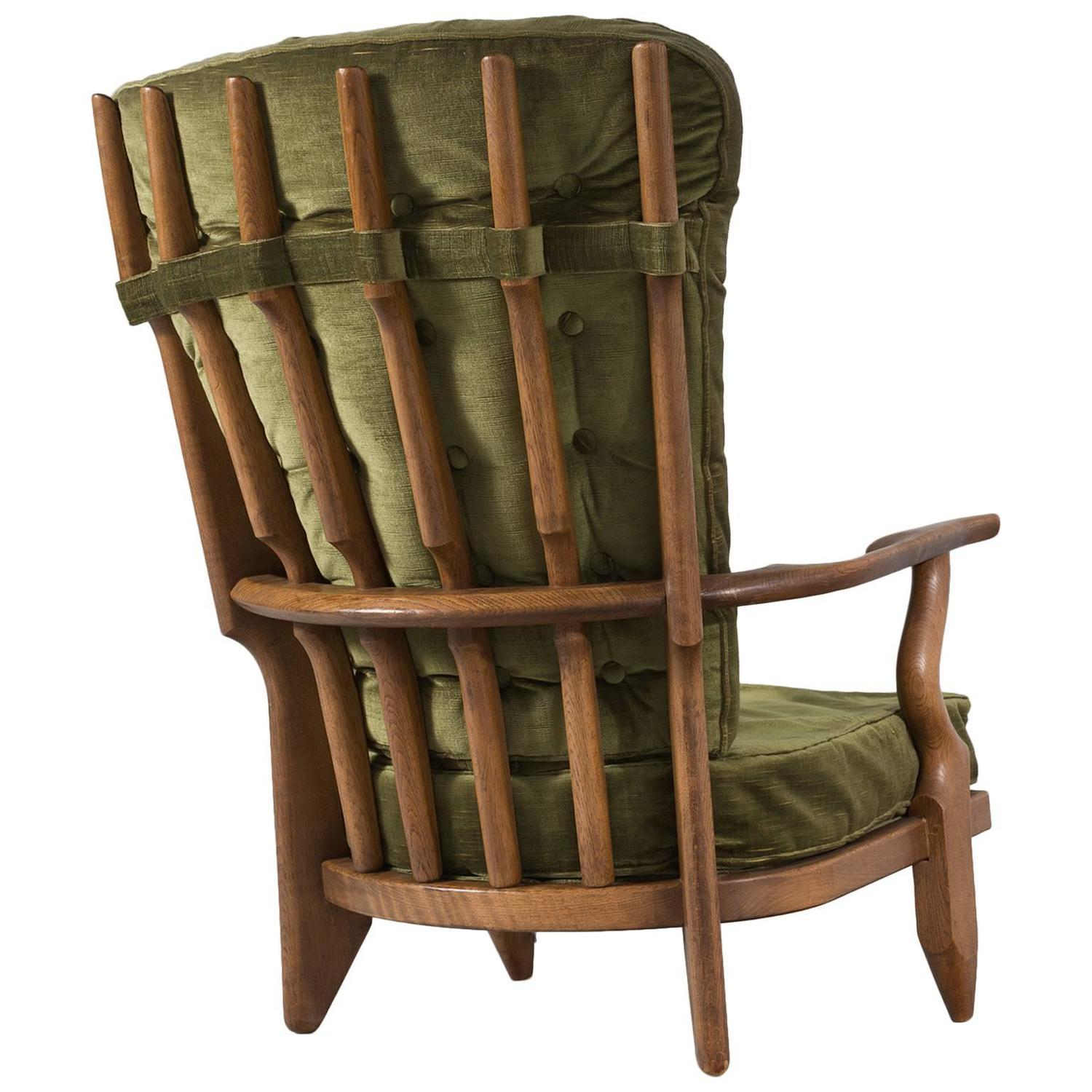 guillerme and chambron high back chair in green velvet upholstery for sale at 1stdibs. Black Bedroom Furniture Sets. Home Design Ideas