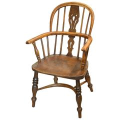 19th Century Child Yew-Wood and Elm Windsor Chair