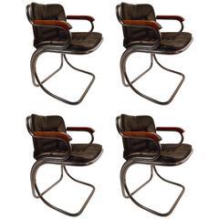 Set of Four Tubular Chrome Dining Chairs