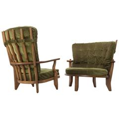 Guillerme & Chambron Set of Two Lounge Chairs with Green Upholstery