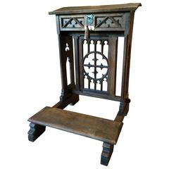 Antique Solid Oak Bible Stand Lectern Gothic Victorian, 19th Century
