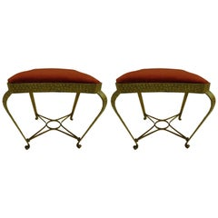 Pair Italian Mid-Century Hand-Hammered & Gilt Iron Benches by Pier Luigi Colli