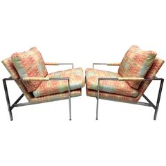 Milo Baughman for Thayer Coggin Chrome Flat Bar Lounge Chairs