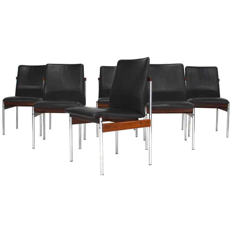 Set of six Brazilian Rosewood, Leather and Chrome Dining Chairs, 1960s