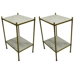 Pair of French Mid-Century Modern Neoclassical Side Tables by Maison Jansen