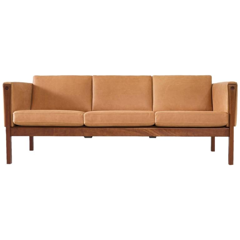 Hans Wegner Reupholstered Three-Seat Sofa in Cognac Leather