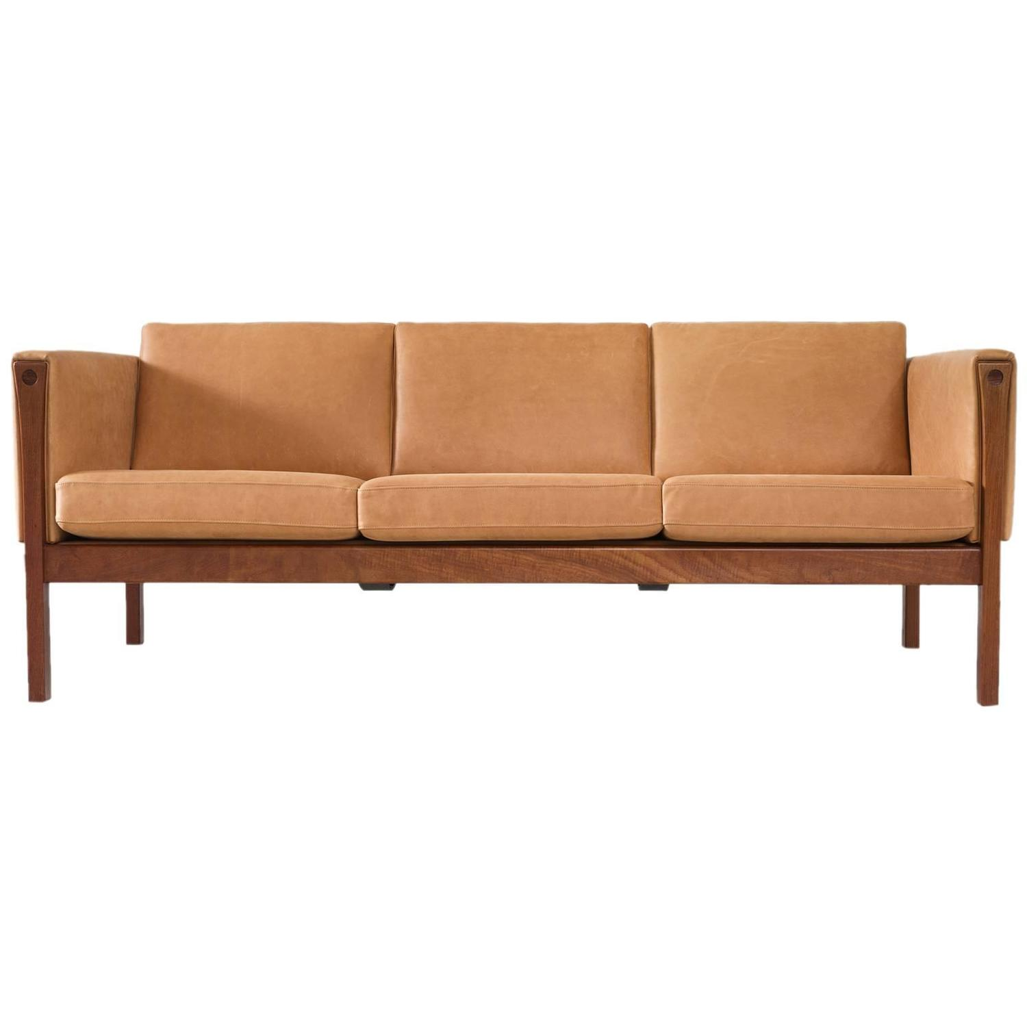 hans wegner reupholstered three seat sofa in cognac leather for sale at 1stdibs. Black Bedroom Furniture Sets. Home Design Ideas