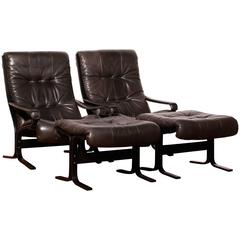 1960s, by Ingmar Relling for Westnofa, Leather Lounge Set