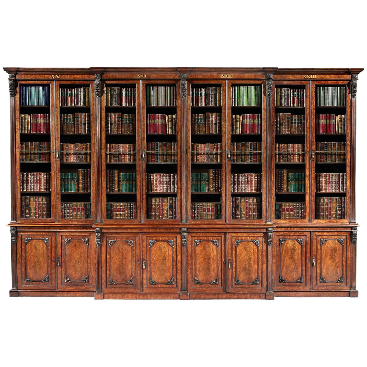 Antique 19th Century English Mahogany Library Bookcase For