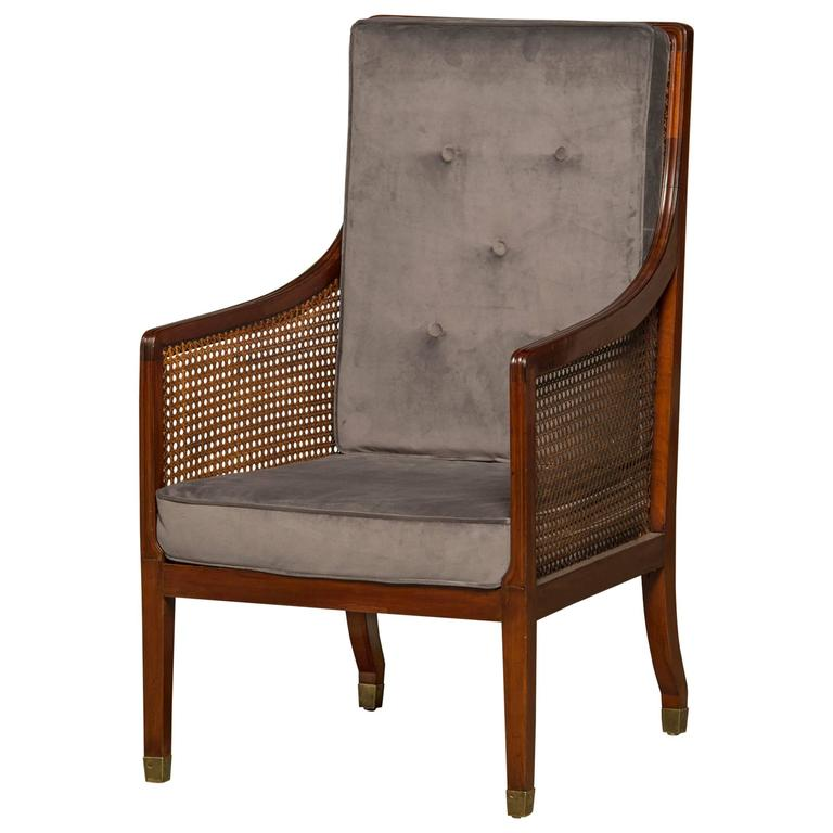 Early 19th Century Regency Armchair in Mahogany and Cane For Sale