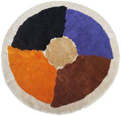 Large Circular Danish Carpet with a Bold Abstract Design, 1970s
