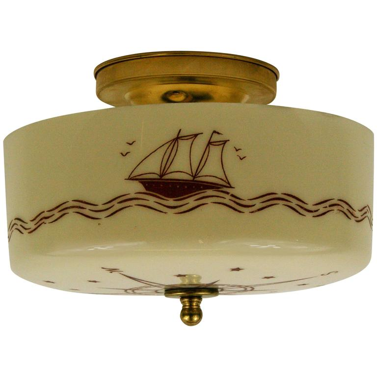 Nautical Compass Ceiling Light At 1stdibs