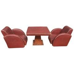 Leather, Art Deco Desk Accessory Set