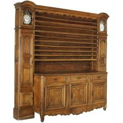 Late 18th Century Walnut Cupboard with Plate Rack Clocks Manufactured in France