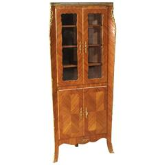20th Century French Corner Cupboard Decorated with Gilded Bronzes