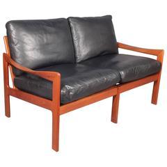 Illum Wikkelso Teak and Leather Sofa, Danish, 1960s