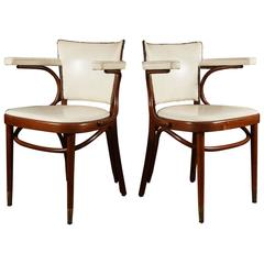 Pair of White Leather Thonet Armchairs