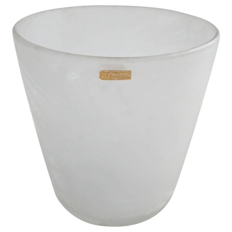 Art Deco Ice Bucket in frosted glass by Pukeberg, Sweden