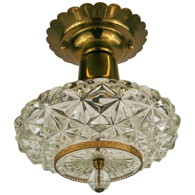Faceted Glass Ceiling Fixture For Sale