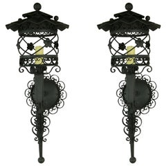 Pair of France Scrolled Lantern Sconces