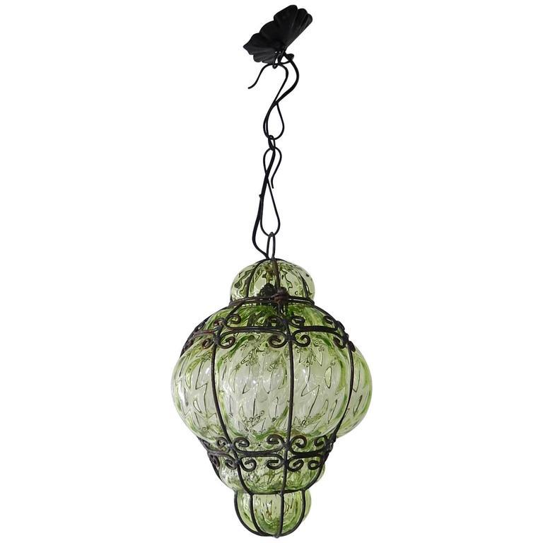 Seguso Murano Peridot Green Blown Lantern Chandelier