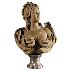 19th Century French Terracotta Bust of a Woman from the circle of Augustin Pajou