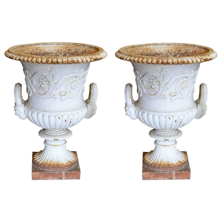 Pair of Coalbrookdale Style Cast Iron Garden Urns at 1stdibs
