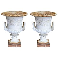 Pair of Coalbrookdale Style Cast Iron Garden Urns