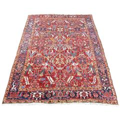 Antique Heriz Carpet Rich Warm Red and Full Pile