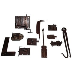 Lot of 18th-19th Century Wrought Iron Locks and Tools