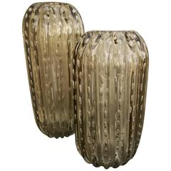 Pair of Large Italian Murano Vases or Vessels by Alberto Dona