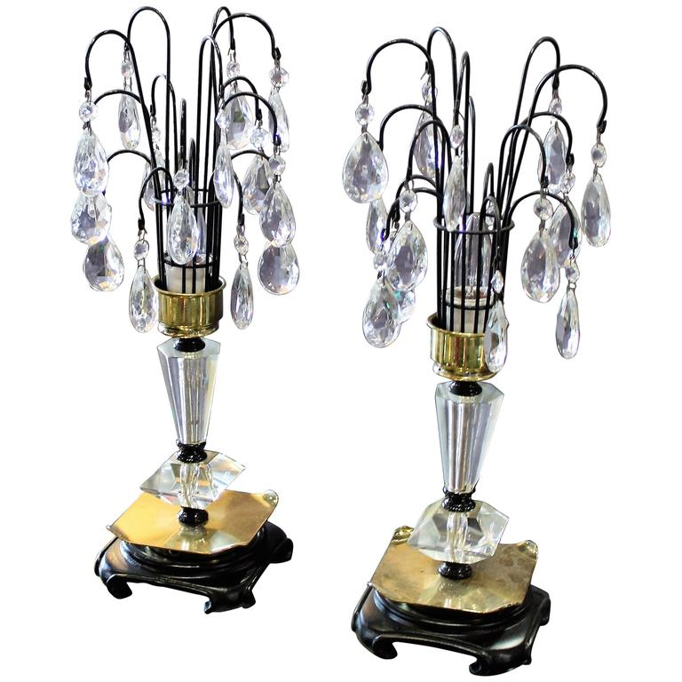 Pair of 1940s crystal dressing table lamps for sale at 1stdibs for Dressing table lamp lighting