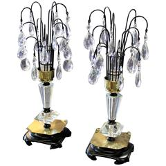 Pair of 1940s Crystal Dressing Table Lamps
