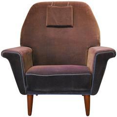 Mid-Century Modern Blue/Gray Wingback Armchair, circa 1960