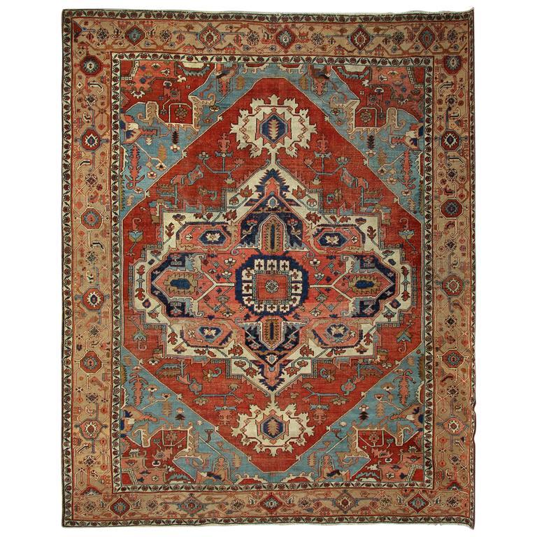 Antique Carpets, Persian Rug, Heriz Serapi Carpet For Sale