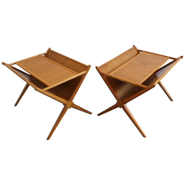 pair of robsjohn-gibbings nightstands magazine rack end tables at