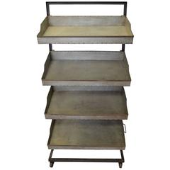 Industrial Storage Cart on Wheels with Four Removable Trays
