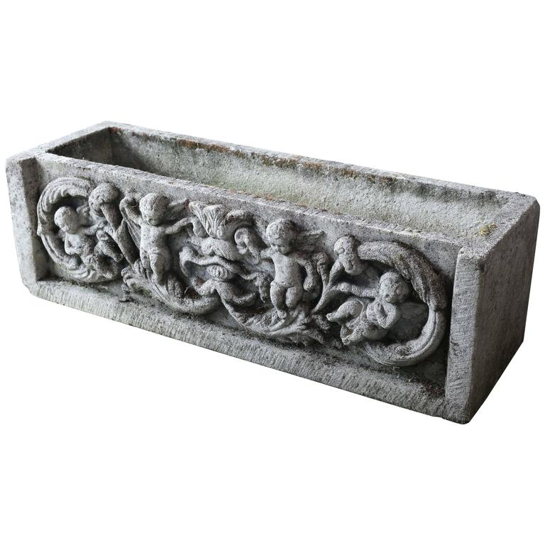 Antique french cast concrete planter with angels at 1stdibs - Casting concrete planters ...