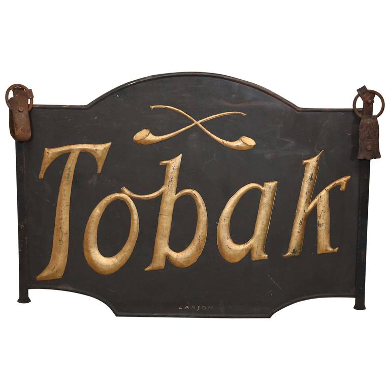 """19th Century Danish Iron """"Tobak"""" Tobacco Sign with Gold Lettering"""