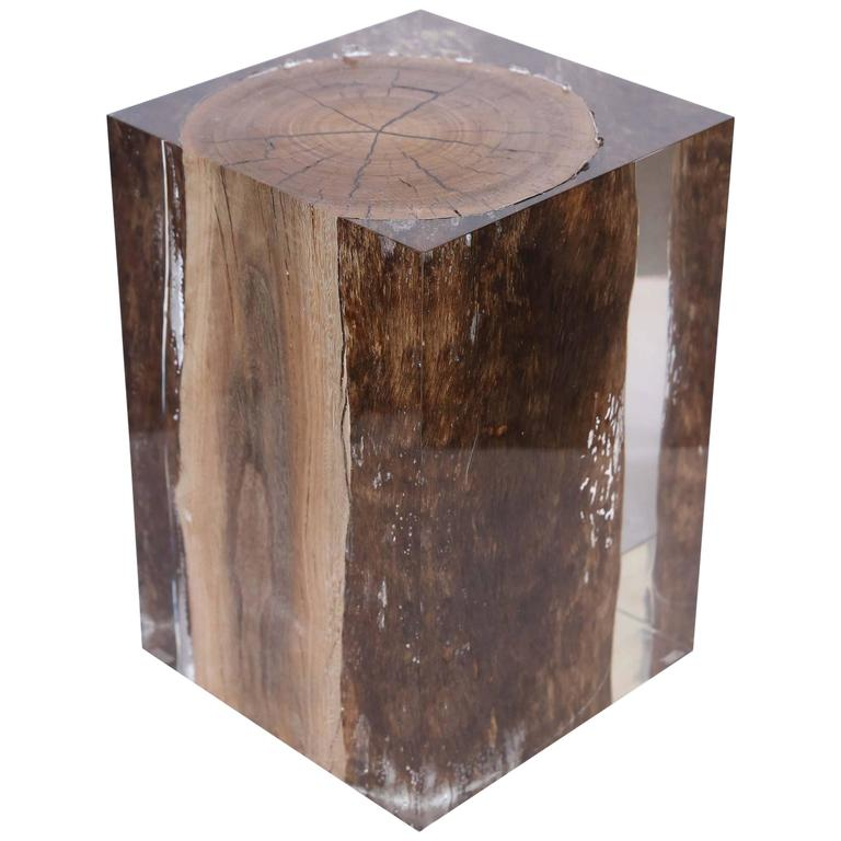 Acrylic Glass Nilleq Driftwood Side Table And Stool At 1stdibs