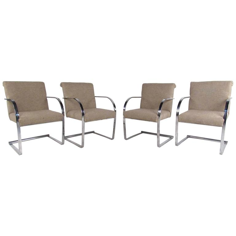 Set of Mid-Century Modern Knoll Brno Style Dining Chairs