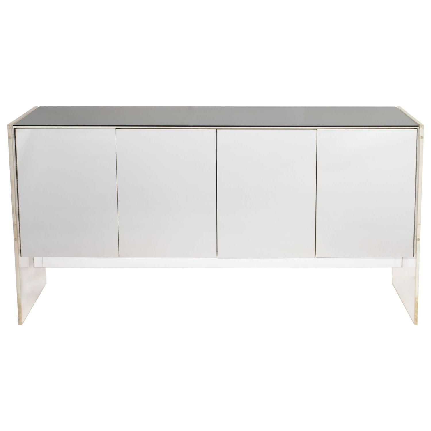 Modern White Credenza Mid Century Modern Mirrored And Lucite Credenza By Ello At 1stdibs