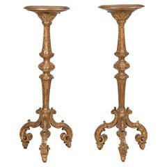 Pair of George I Giltwood Torcheres